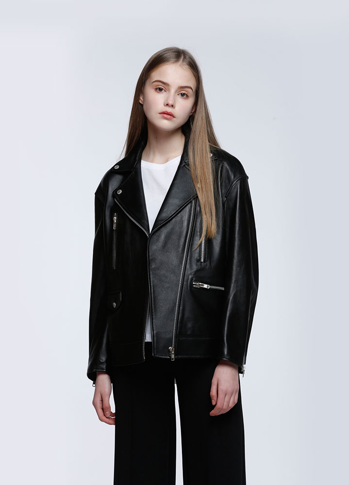 [LEATHER COLLECTION]WOMENS OVERSIZED LAMBSKIN RIDERS JACKET
