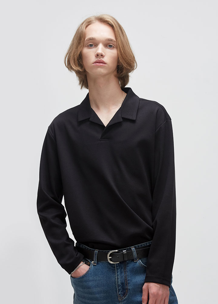 OPEN COLLAR LONG TEE[BLACK]