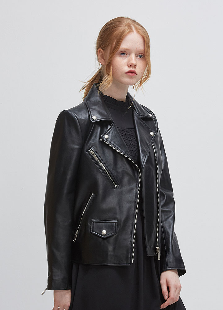 [LEATHER COLLECTION]WOMENS LAMBSKIN RIDERS JACKET
