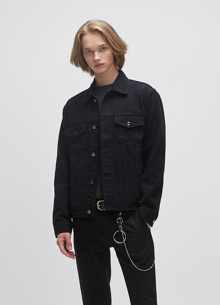 BLACK DENIM JACKET[BLACK]