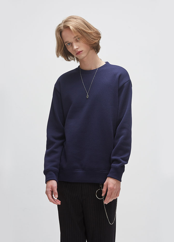 KNIT SWEATSHIRT[NAVY]
