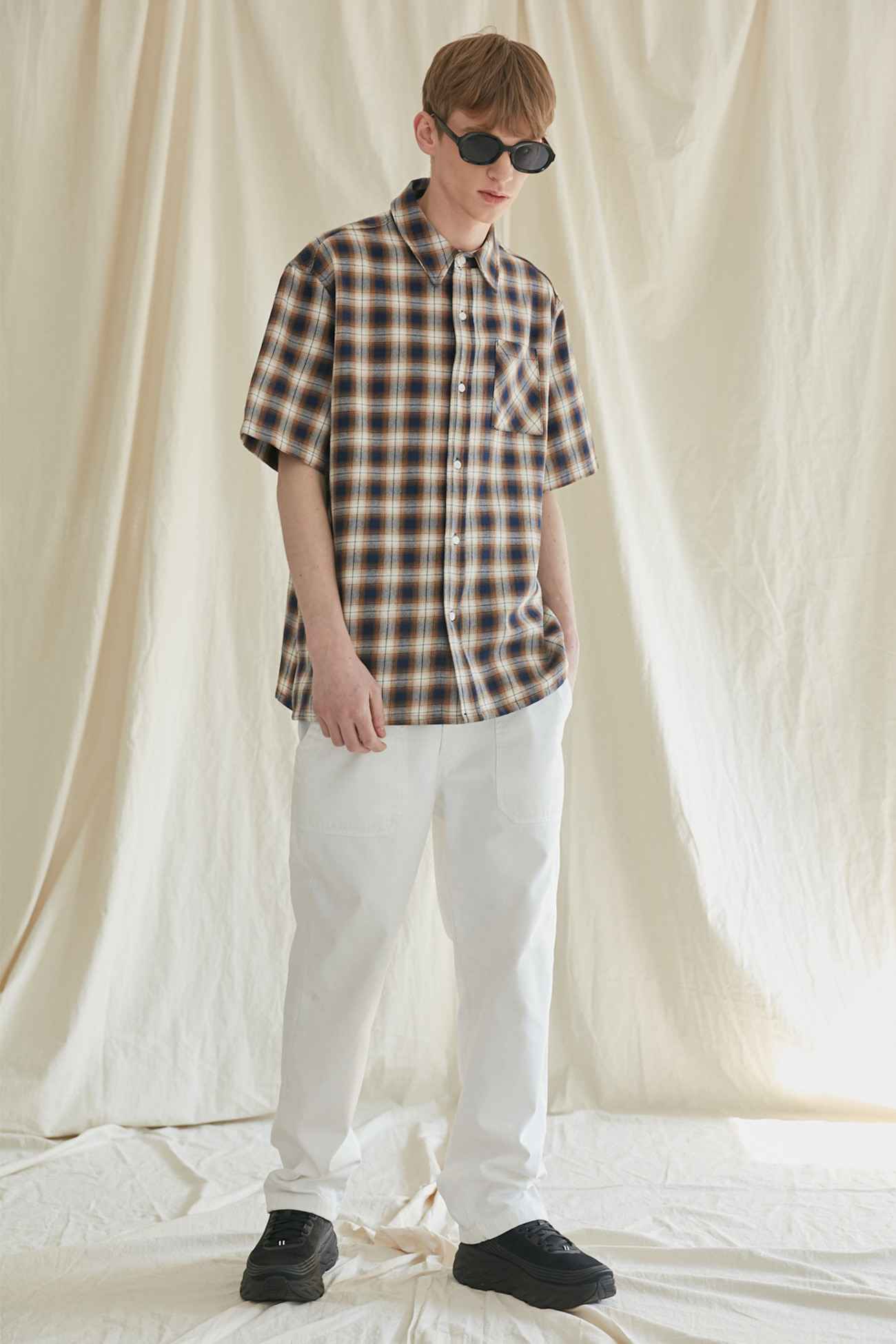 HALF SLEEVE CHECK SHIRTS[NAVY]