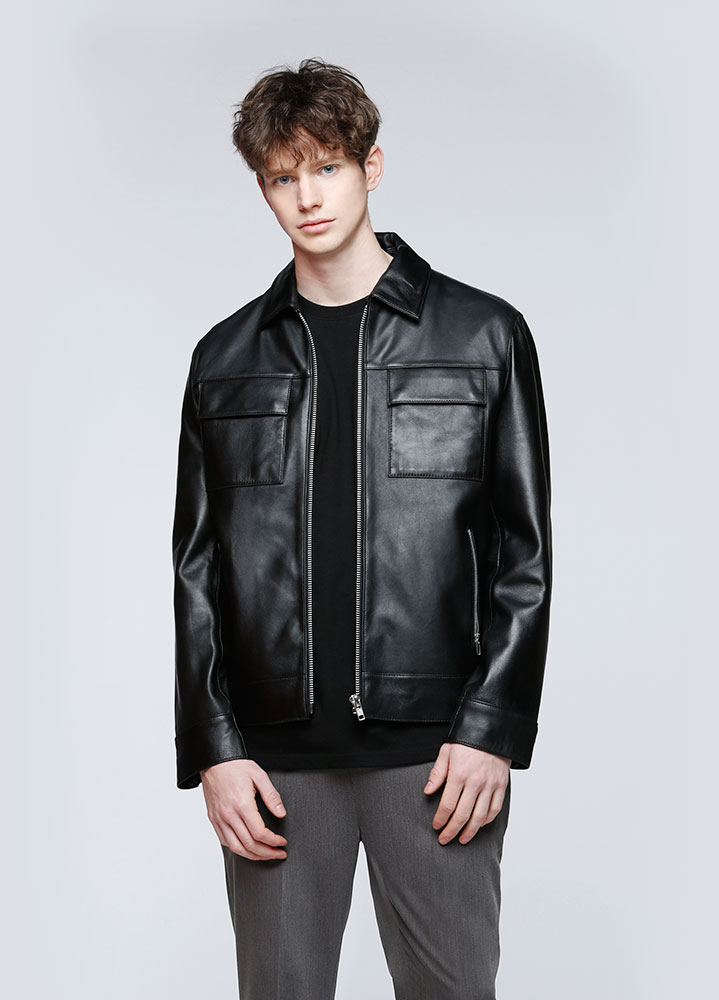 [LEATHER COLLECTION]LAMBSKIN MINIMAL SINGLE JACKET