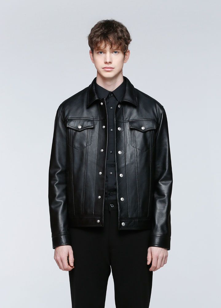 [LEATHER COLLECTION]LAMBSKIN TRUCKER JACKET