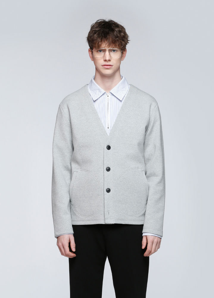 DOUBLE POCKET JERSEY CARDIGAN[GREY]