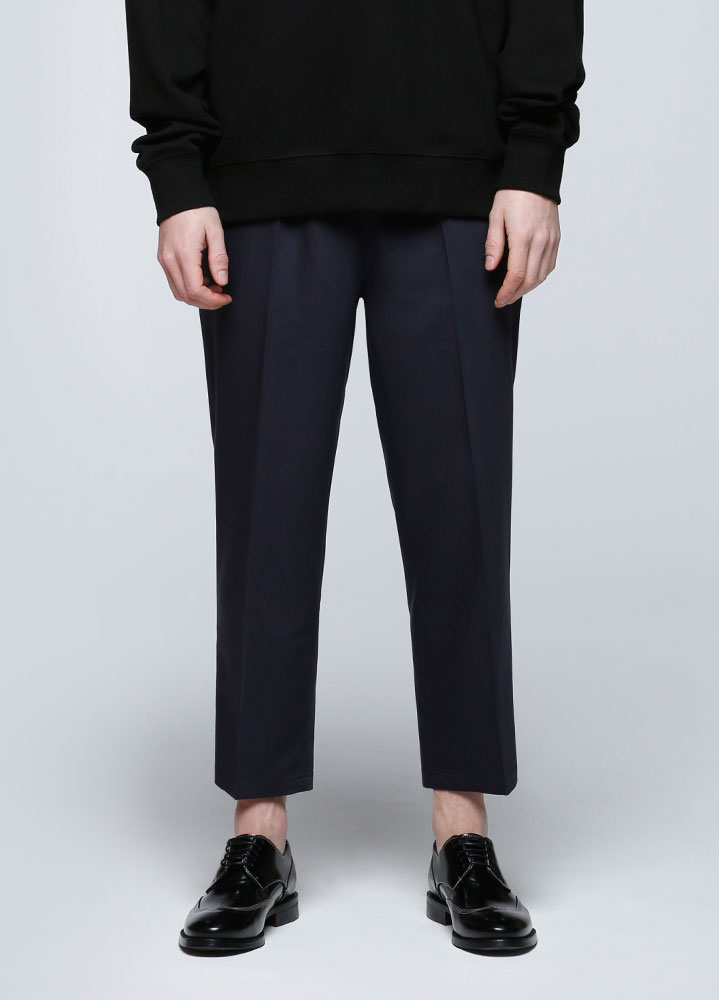 WIDE CROP BANDING SLACKS[NAVY]