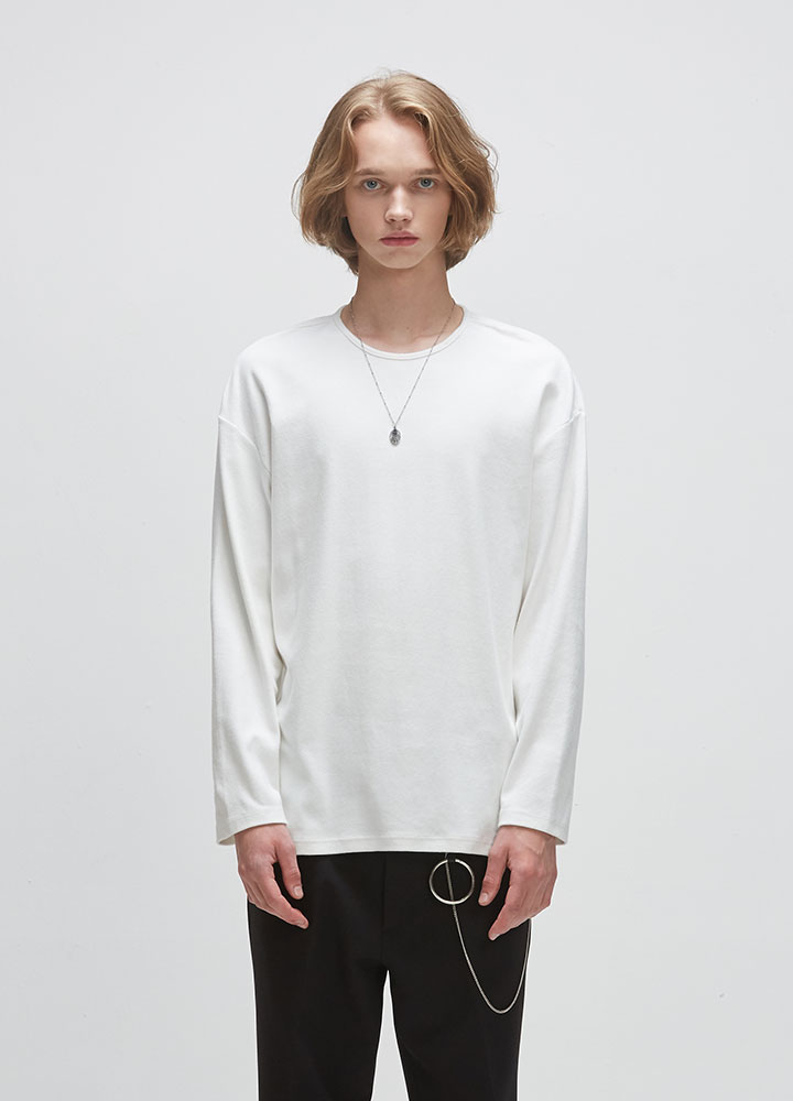 KNIT ROUNDNECK LONG TEE[IVORY]