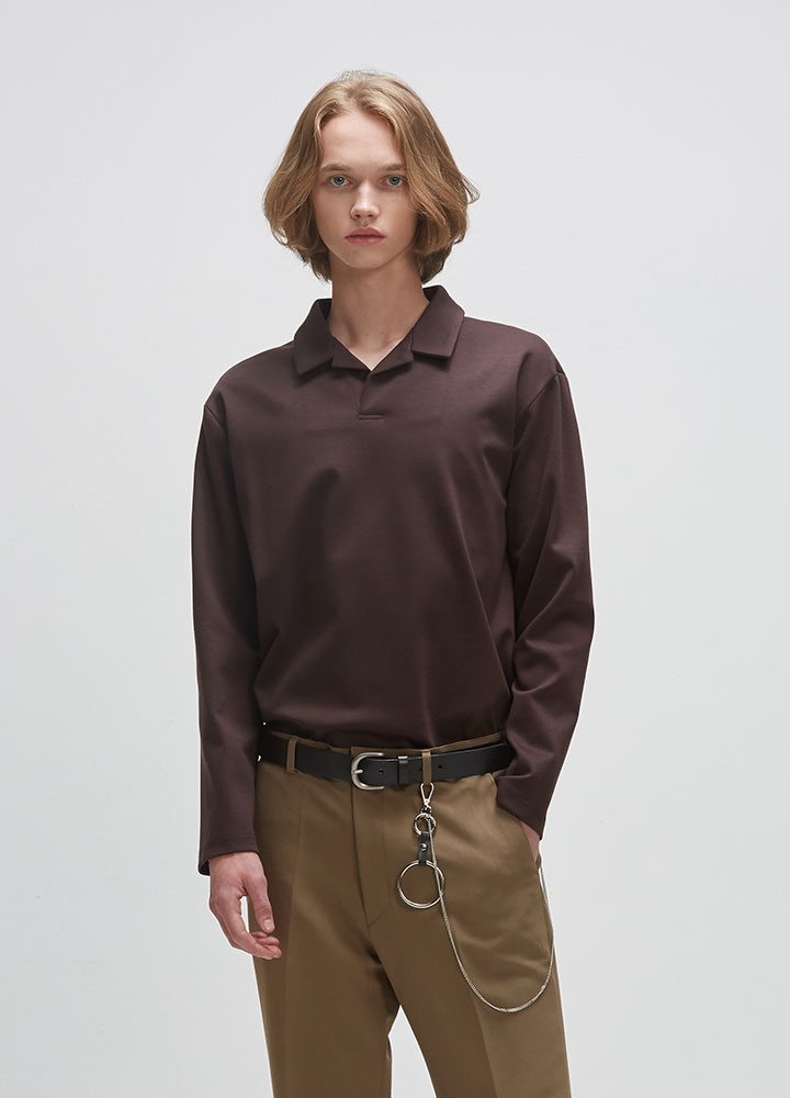 OPEN COLLAR LONG TEE[BROWN]
