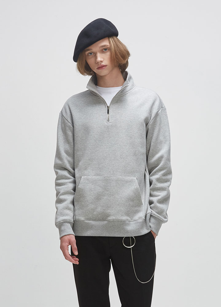 HALF ZIP SWEATSHIRT[GREY]