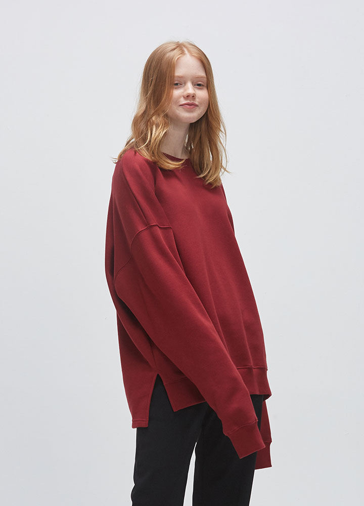VENT OVERSIZED SWEATSHIRT[WINE]