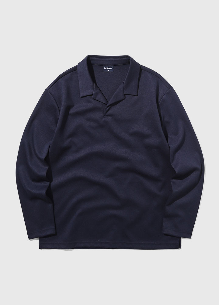 OPEN COLLAR LONG TEE[NAVY]