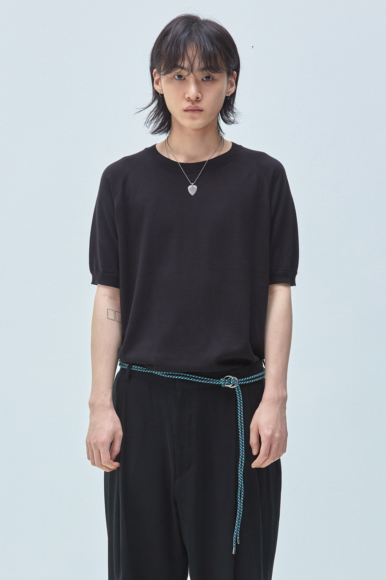 HALF SLEEVE KNIT[BLACK]