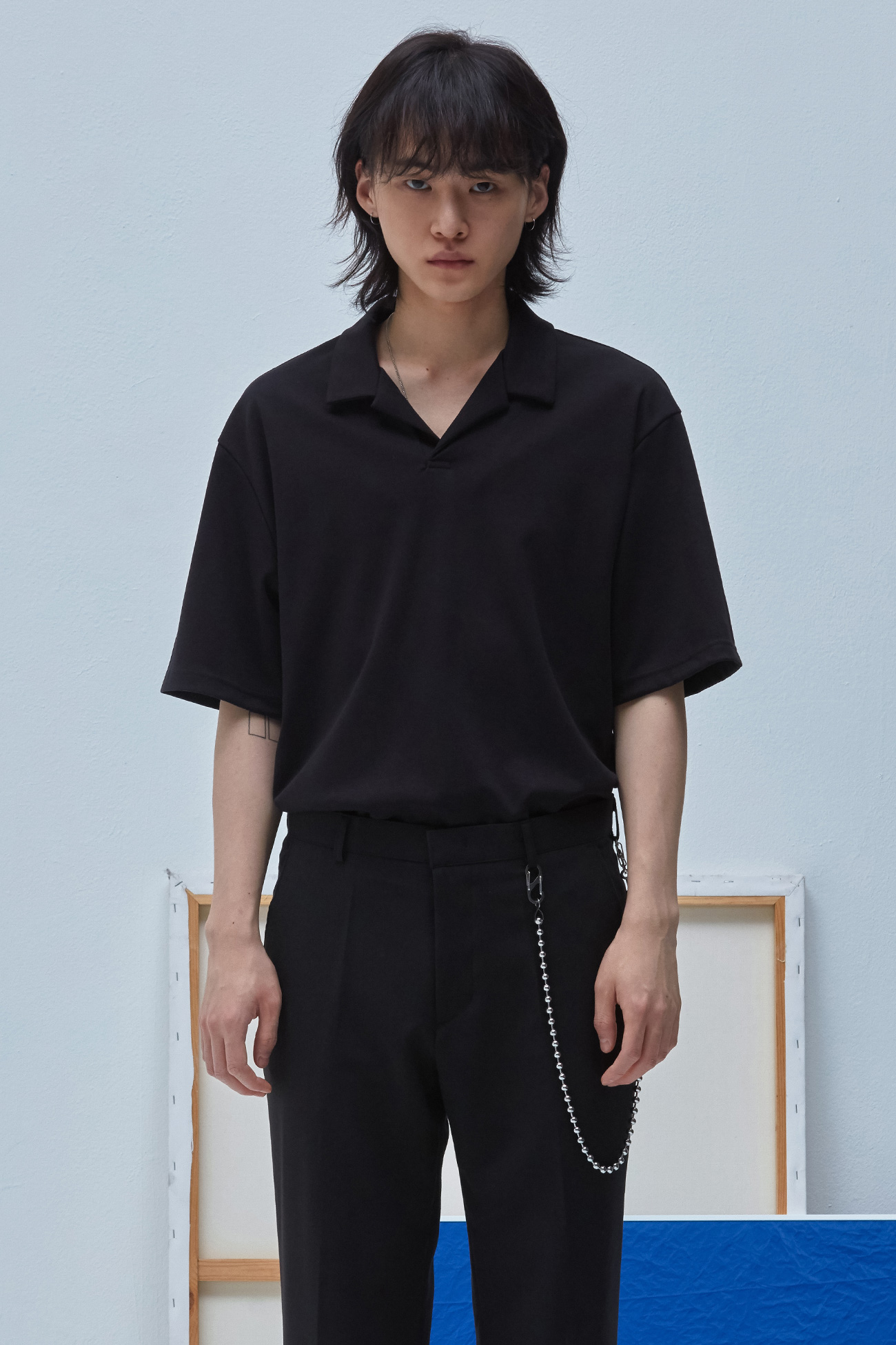 OPEN COLLAR TSHIRT[BLACK]