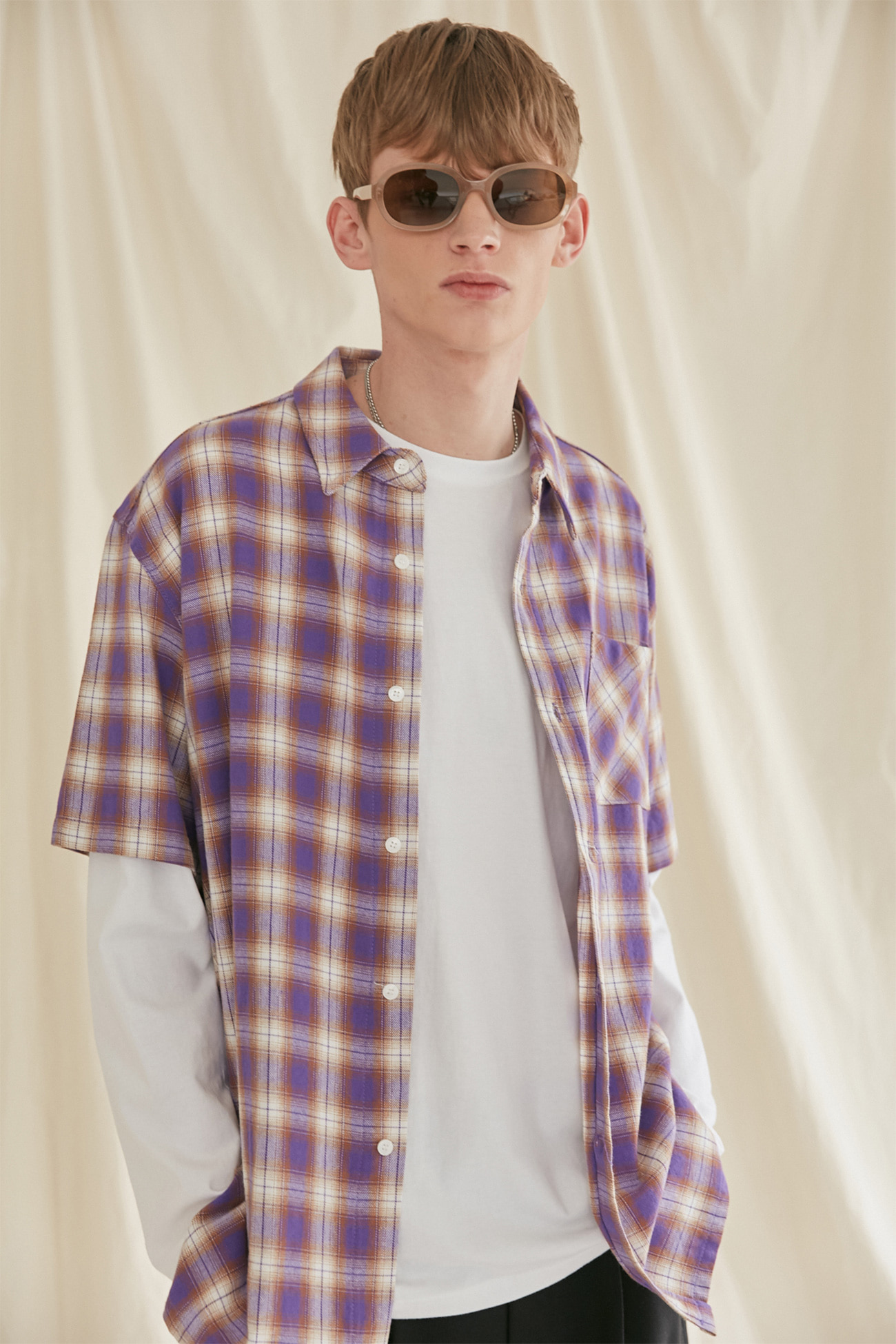 HALF SLEEVE CHECK SHIRTS[PURPLE]