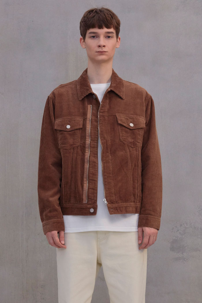 CORDUROY ZIPPER JACKET[BROWN]