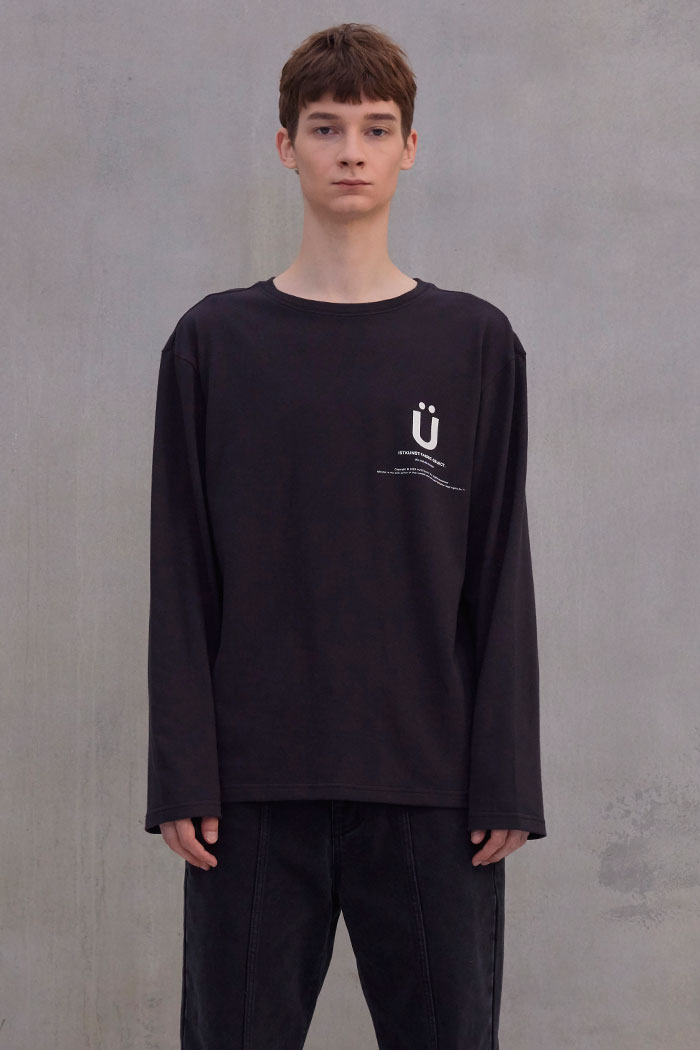 BIG U LOGO L/S TSHIRT[CHARCOAL]