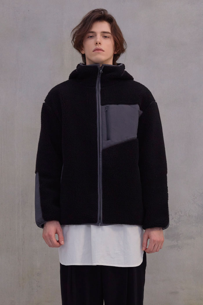 FLEECE HOOD JACKET[BLACK]