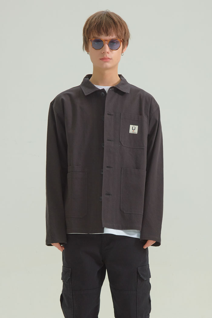 OVERDYED WORK JACKET[BLACK]