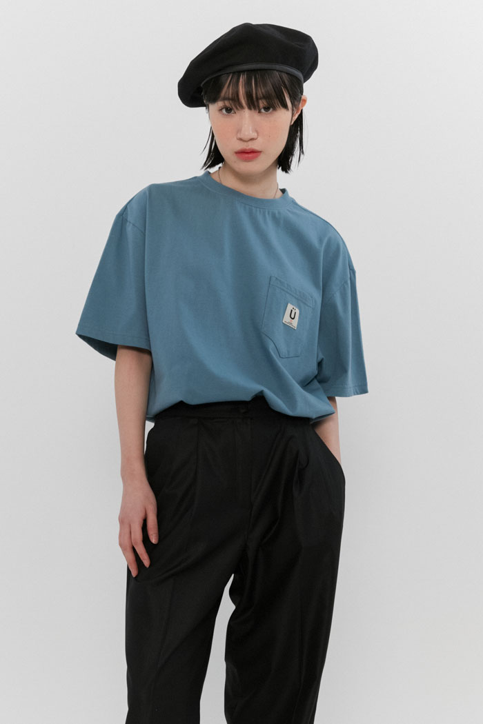 LABEL POCKET TEE[BLUE]