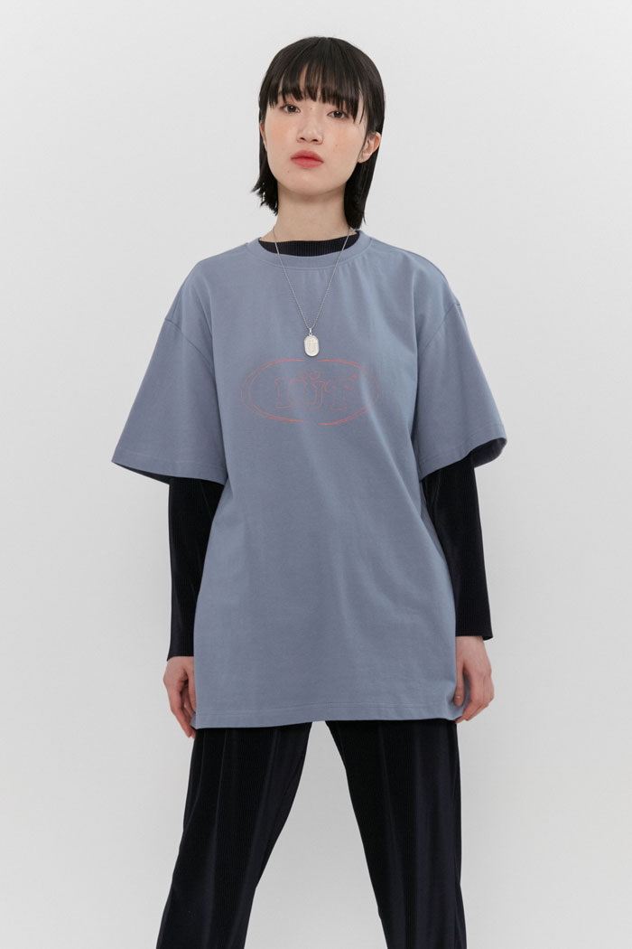 OUTLINE OVAL LOGO TEE[BLUE]