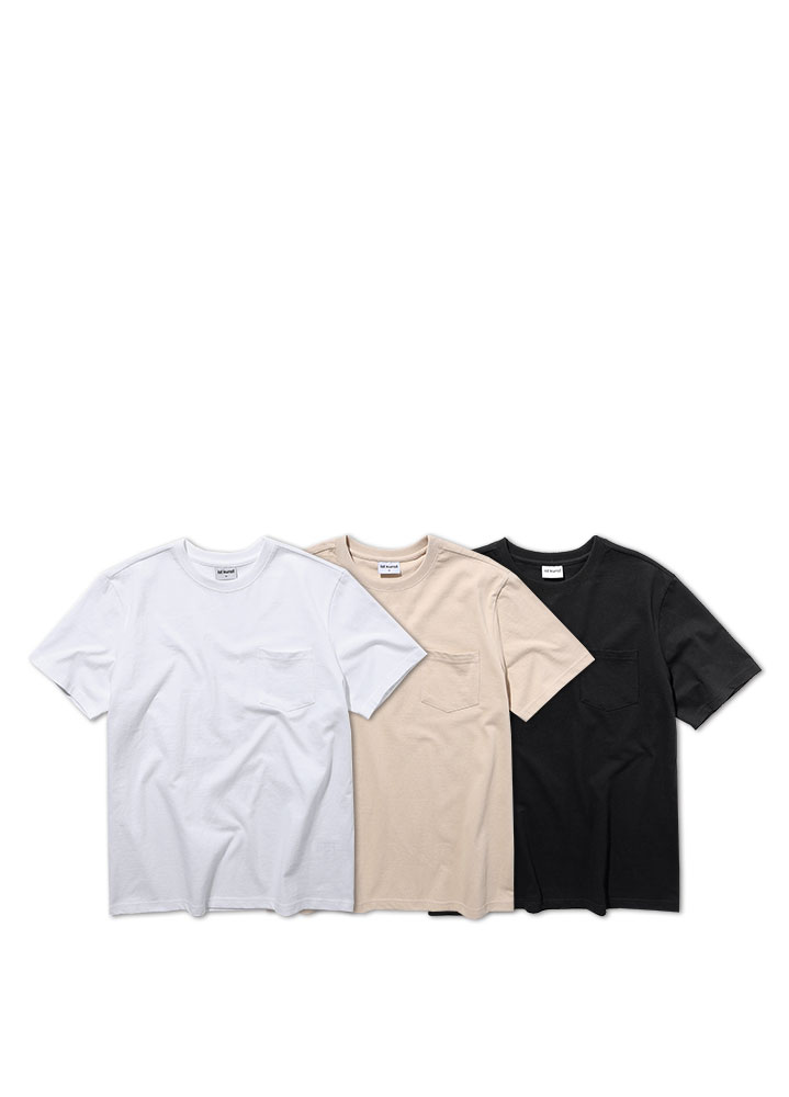 [ STANDARD 1+1 ]NEW COTTON POCKET SHORT TSHIRT[3 COLOR]