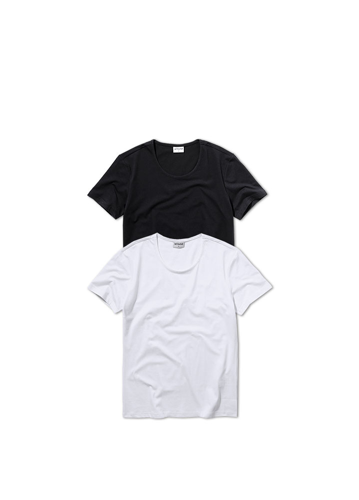 [ STANDARD 1+1 ]SCOOPNECK COTTONSPAN TSHIRT[2 COLOR]
