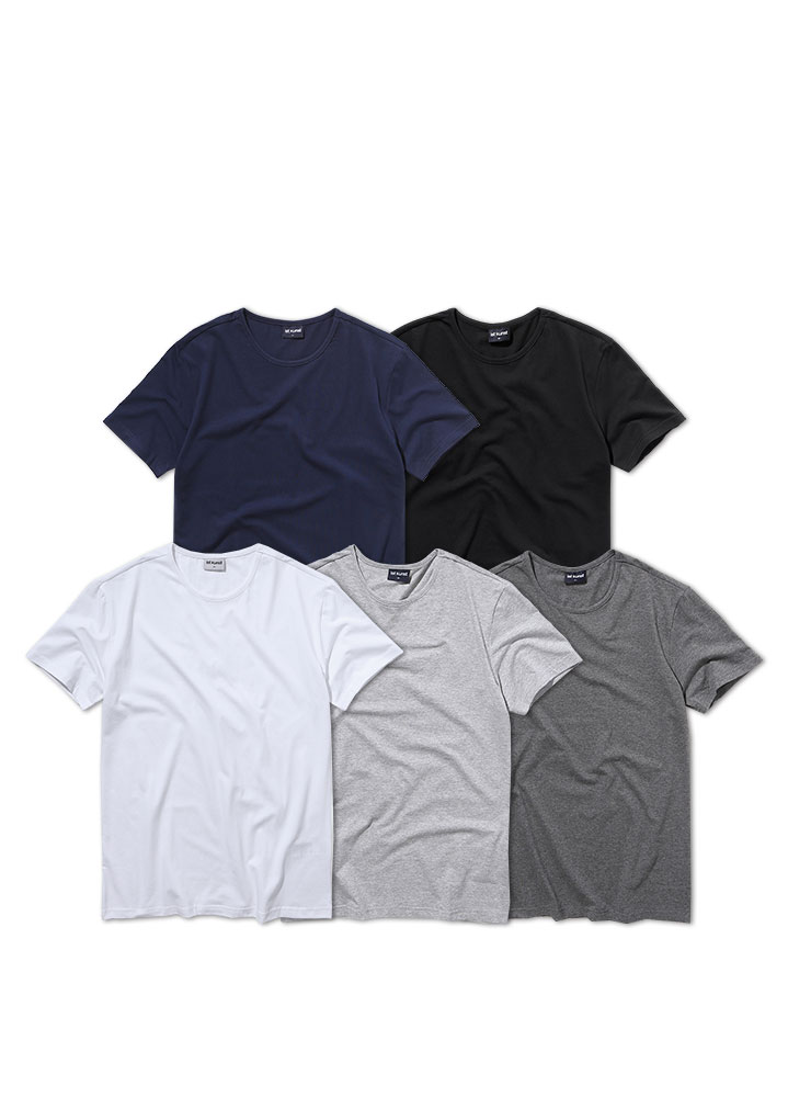 [ STANDARD 1+1 ]ROUNDNECK COTTONSPAN TSHIRT[5 COLOR]